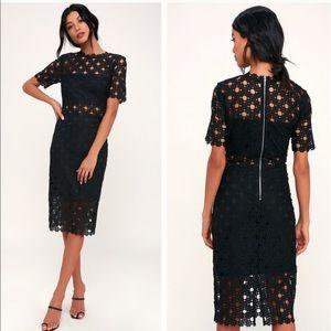 Lulu's Heartfelt Black Lace Bodycon Midi Dress